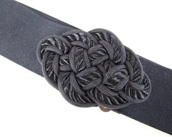 Vintage 1980's Black Stretch Belt with Diamond Shaped Woven Buckle, Modern Size 6 - 8