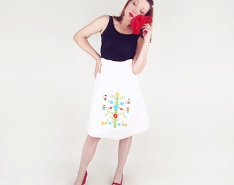 """70s Mexican A Line Skirt with Colorful Angels and Tree of Life Flowers 25"""" waist"""