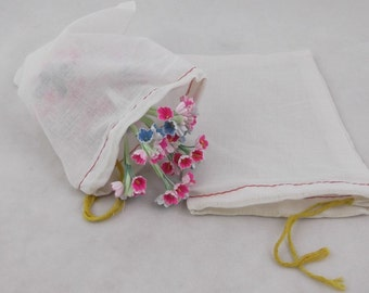 10 pack of Medium Sized Muslin Bags with Yellow Drawstrings