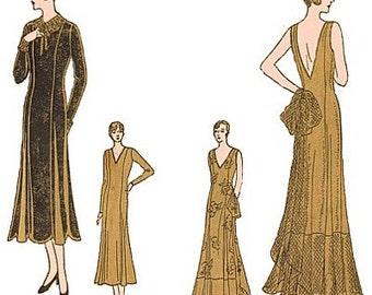Vintage 30s Deep V Back Evening Formal Wedding Gown Dress Sewing Pattern 3421 B 32