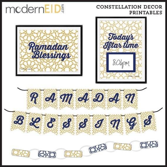 ramadan decor printables digital download constellation design