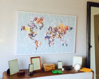 Large World Map Art Personalized World Map Created with Words / Home Decor / Cotton Anniversary Gift / Map Art / Anniversary Gift 40X60