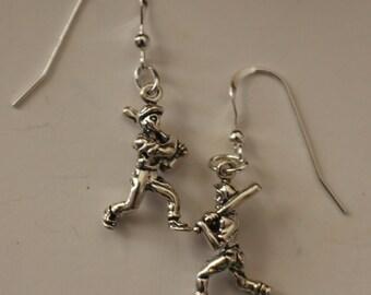 Sterling Silver BASEBALL BATTER Earrings - Sports