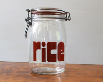 Rice mason jar for typography lovers, 1970s.