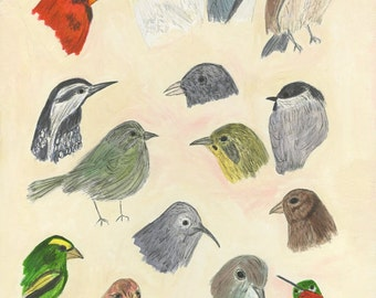Birds with personality. Original painting by Vivienne Strauss.