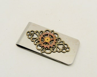 Steampunk gear money clip. Steampunk jewelry.