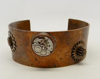 Steampunk copper cuff.