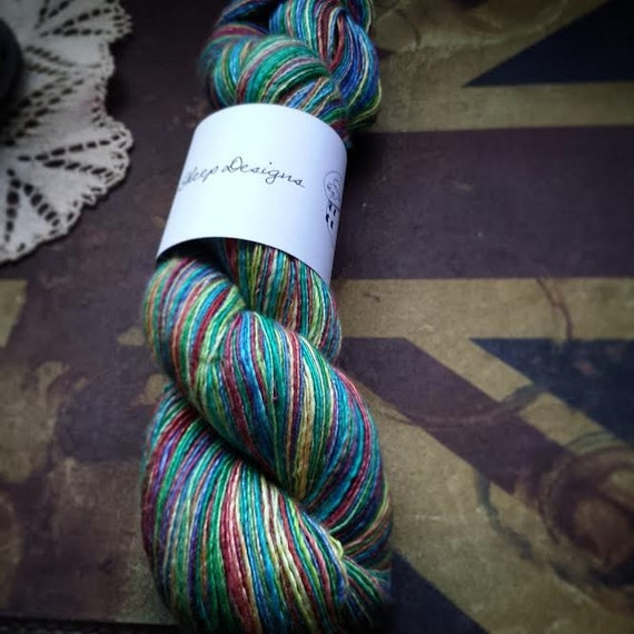 Handspun Merino Silk Yarn in *Somewhere Over the Rainbow* (564 yds)