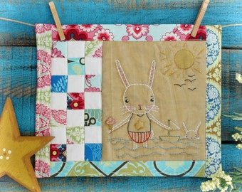 By the Sea embroidery PDF Pattern - Bunny Quilt stitchery