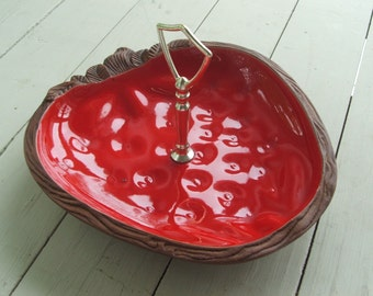Vintage Strawberry USA Ceramic Serving Dish with Metal Handle
