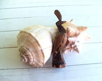 Tropical Wood Hand Carved Quail Exotic Bird Figurine