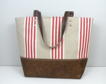 Striped Linen Tote Bag / Red and White tote / Leather Bottom / Beach Bag with Leather Handles / Summer travel
