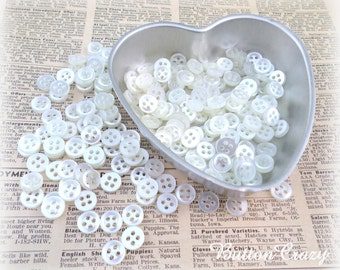 50 White 4-Holed Buttons