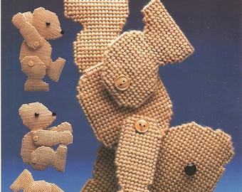 plastic canvas tumbling teddy
