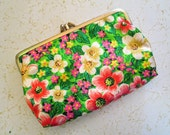 Retro Floral Satin Rayon with Vintage Triple Clasp Coin Purse