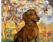 """DACHSHUND Smooth Red Dog ART shown on ONE 18"""" x 22"""" Fabric Panel to Sew"""