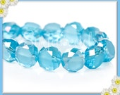 30 Gorgeous Blue Faceted AB Crystal Coin Beads 8mm