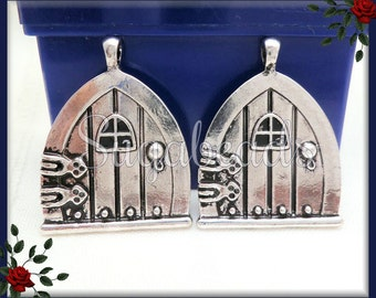 3 Antiqued Silver Fairy Doors - Castle Wish Door Pendants or Charms PS57