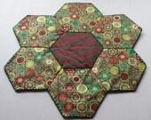 Christmas Holiday Hexagon Table Candle Mat