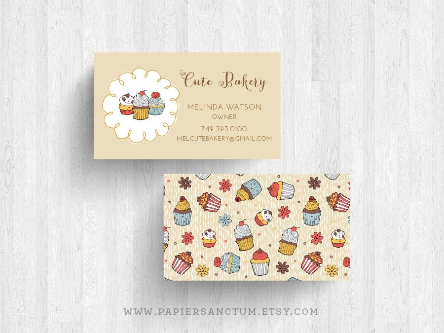 250 or 500 Custom Cute Bakery Business Cards or by