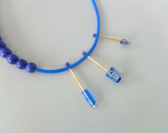 Royal Blue rubber asymmetric statement necklace