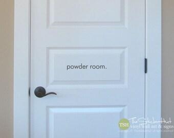 powder room. Door Bathroom Decor Vinyl Wall Art Graphic Stickers Decals 1827