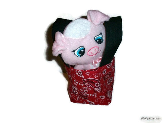 Red Bandana Print Teeny Tiny Tote with Plush Piggie