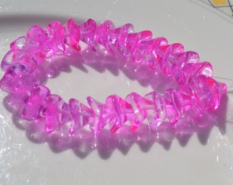 Hot Pink Three Petal FLower Beads  12