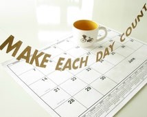 """Make Each Day Count MINI BANNER, 1.5"""" Inspirational Letter Garland, SMALL Office Desk Accessory, Cubicle or Dorm Decor, Motivational Gift"""