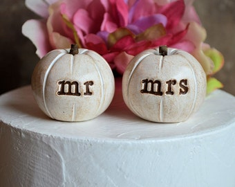 Wedding cake topper...vintage white mr mrs pumpkins...fall and autumn decor / pumpkins for fall weddings / cake table decor