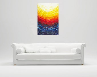 "Art-Acrylic painting Abstract seascape wall art Wall decor Wall Hangings Decorative art Palette Knife ""Flying Home II"" by QiQiGallery"