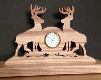 Solid Oak Two Deer Desk Clock