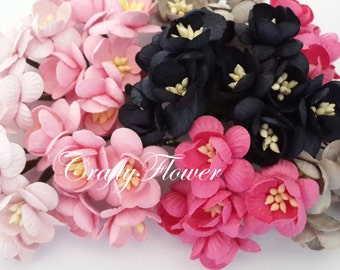 25 Cherry Blossom Black Pink Deva Small Mulberry Paper Flowers Scrapbooks Wedding Cupcake Cards Dolls Crafts Roses 622/S3