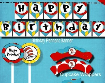 Dr. Seuss, Party Package, Seuss Inspired, Seuss Birthday, DIY Printable, Instant Download, Red Blue, birthday banner, cupcake topper