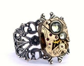 Black Diamond Silver Steampunk Ring Swarovski Crystal Adjustable Vintage Watch Movement Jewelry Designed by London Particulars