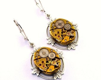 Steampunk Earrings Gold Tone Floral Earrings Clockwork Lever Back Vintage Watch Movement Steampunk Jewelry designed by London Particulars