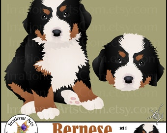 Bernese Mountain doggies set 1 - dog graphics of 1 full color Bermese mountain dog and 1 face cutout {Instant Download}