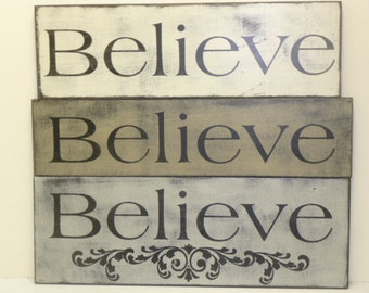 LG  BELIEVE SIGN / Believe wall sign / Believe / hand painted sign / believe sign / wood believe sign / kids room sign / rustic believe sign