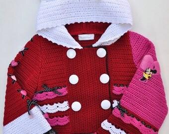 CROCHET PATTERN Holidays Valentine Crocheted Jacket  Sizes 2-12 Years Crochet pattern in PDF