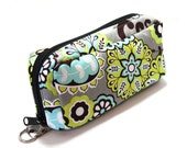 Essential Oil Case Holds 10 Bottles Essential Oil Bag Light Aqua and Chartreuse Flowers