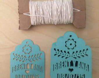 Laser Cut Tags (40) PERSONALIZED for Party Favors with your names and date fiesta wedding shake at the kiss for succulent papel picado