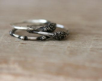 Spora Ring Set - Oxidised Sterling Silver Rings