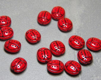 Czech Opaque Red and Black Ladybug Glass Butterfly Beads 13x12mm (6)
