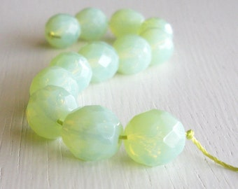 12 Milky Light Green 10mm Faceted Czech Glass Rounds