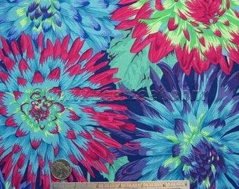 Kaffe Fassett CACTUS DAHLIA Blue Green Magenta Gp054 Quilt Fabric - by the Yard, Half Yard, or Fat Quarter FQ