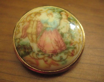 Copy of a Fragonnard French Courting Pin in Porcelain Vintage