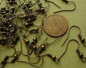 50 pcs -  Antiqued Brass Earwire Hooks, Earwire with Ball, Bronze Earwires, 19mm  EWH710