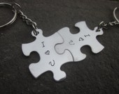 I Love You puzzle pieces Key chains set of two puzzle pieces for lovers husband wife boyfriend girlfriend