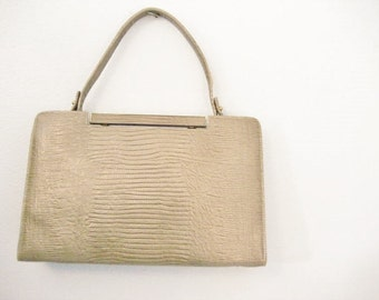 Vintage Large Taupe Structured Box Style Faux Croc Handbag