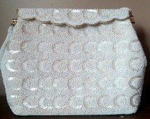 Ladylike Pearl Colored Beaded 1960s Handbag